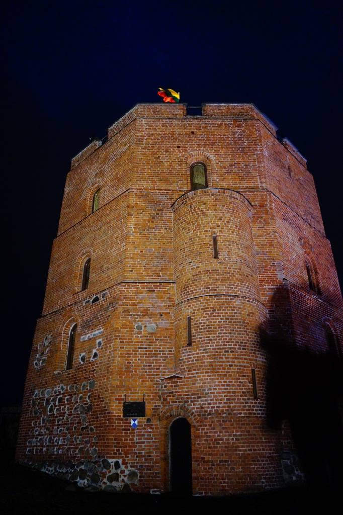 башня гедемина ночью
