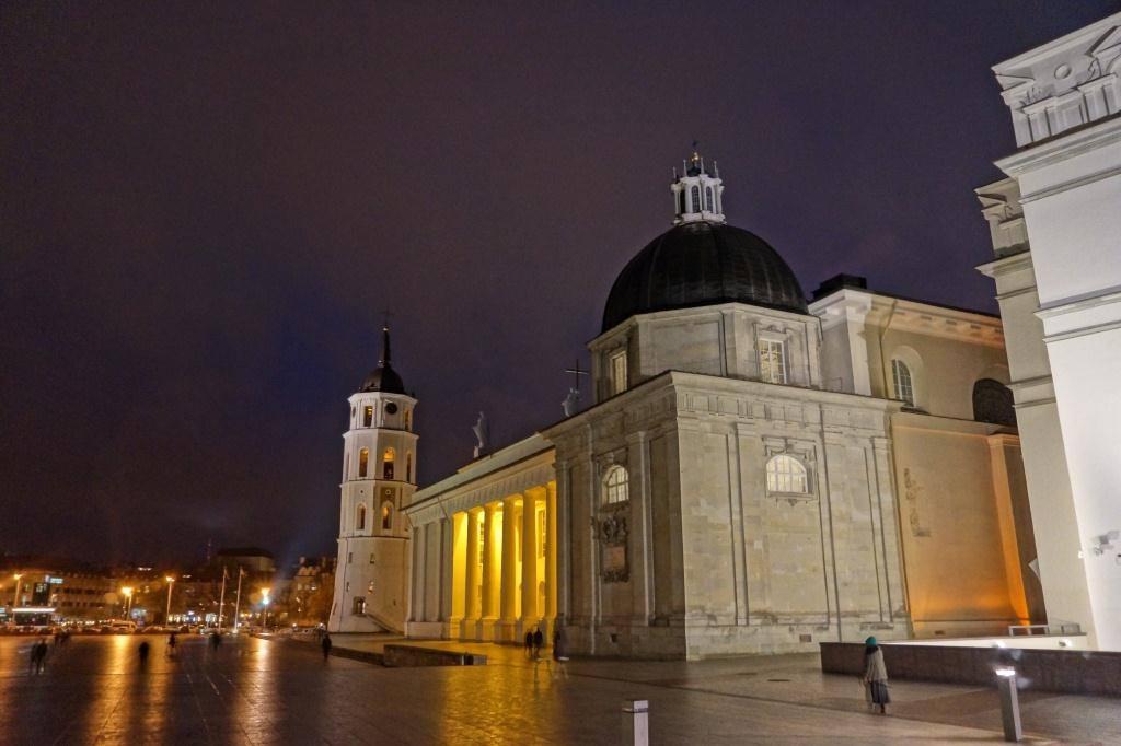 главная площадь Литвы ночь