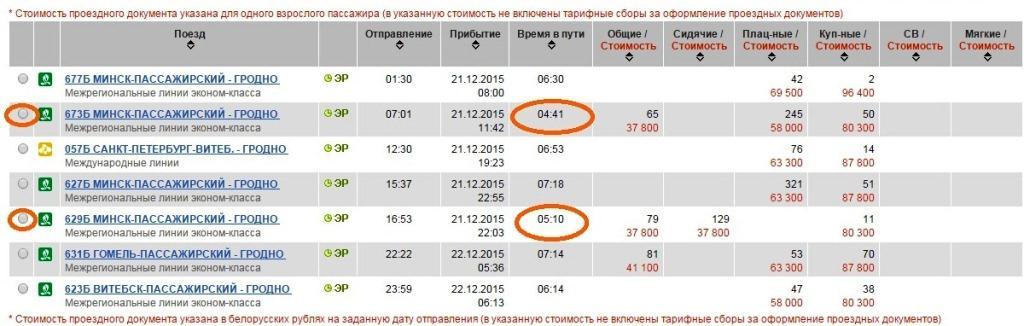 поезд Минск Гродно