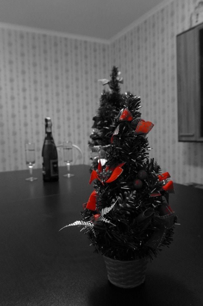 елочка и шампанское