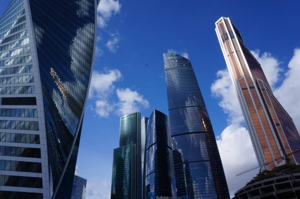 Москва сити снизу