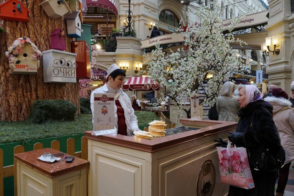 мороженное в ГУМе Москвы