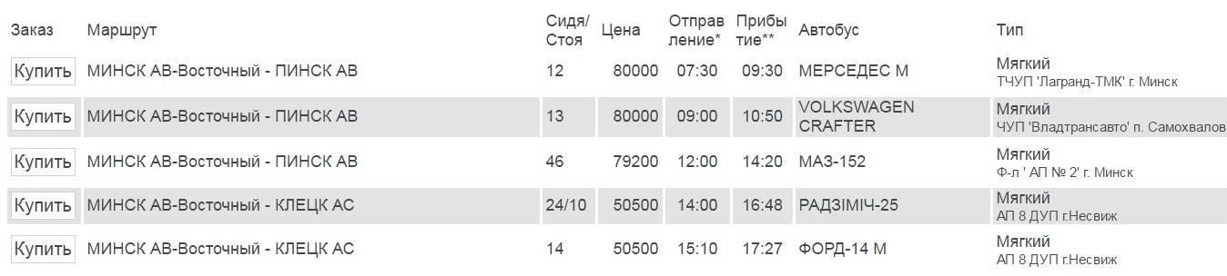 автобус Минск Несвиж