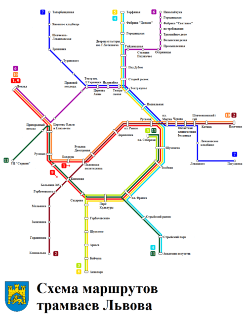 Lviv_tram_routes_map_ru